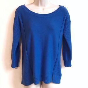 American Eagle 3/4 sleeve scoop neck blue sweater